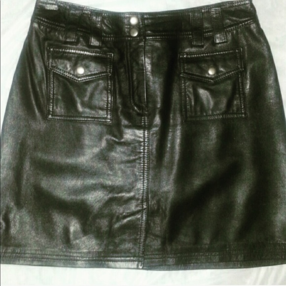 INC International Concepts Dresses & Skirts - Real leather mini skirt with  two front pockets